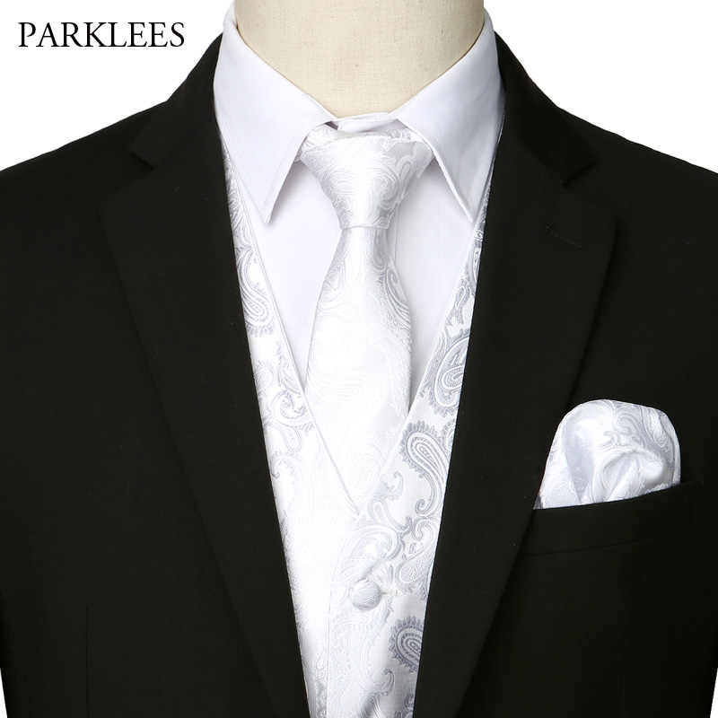 男性の 3 個白ジャガードペイズリーベストセット 2019 新エレガントな男性の結婚式パーティーチョッキスーツやタキシードのためネクタイ + ポケット + 正方形