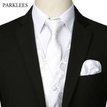 Men's 3pcs White Jacquard Paisley Vest Set 2019 New Elegant Men Wedding Party Waistcoat for Suit or Tuxedo Necktie+Pocket+Square
