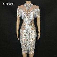 Sparkly Rhinestones White Fringes Mesh Dress Birthday Celebrate See Through Transparent Net Dress Costume Dance Dress