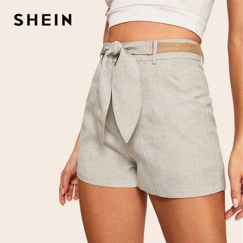 SHEIN Grey Vintage Slant Pocket High Waist Shorts With Straw Belt Summer Casual Streetwear Solid Zipper Fly Women Shorts
