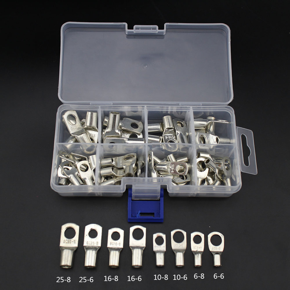 60pcs Bolt Hole Tinned Copper Cable lugs Battery Terminals set Wire terminals connector 10pcs bolt hole tinned copper cable lugs battery terminals set wire terminals connector 70mm2 2 0awg sc70 10 sc70 12