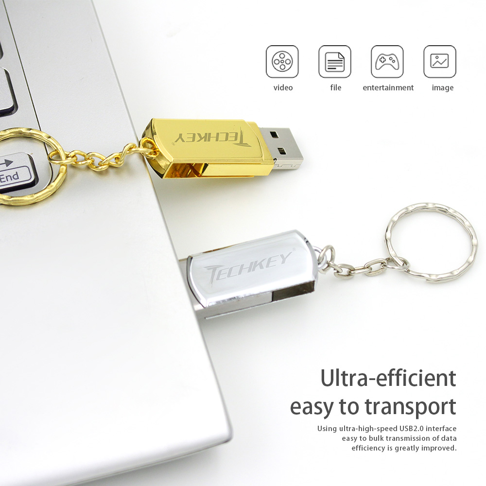 Новый карту флэш-памяти с интерфейсом USB 64 ГБ techkey Флеш накопитель 32 ГБ металла небольшой U диск флешки USB 2.0 memoria Cel usb флэш-памяти stick подарок