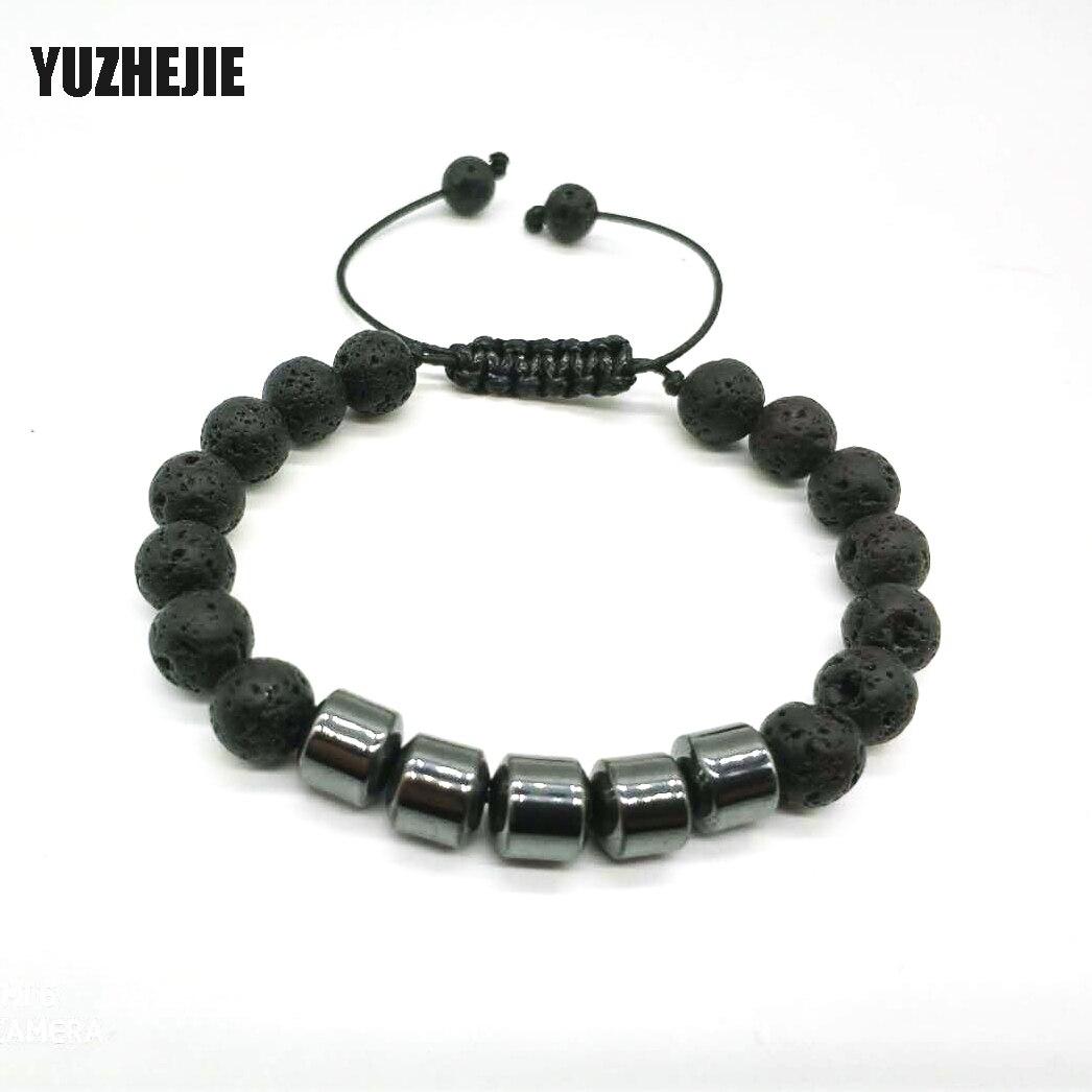 YUZHEJIE Charm Natural stone bracelets High quality 8mm Matte Bead with Tiger eye Bracelet Hematite Beads Bracelet For Women Men