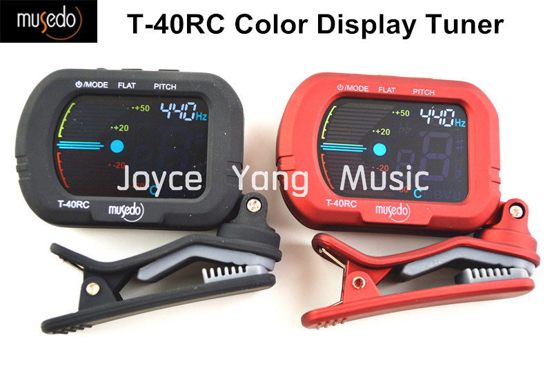 Musedo T-40RC Color Display Clip-On Digital Guitar Tuner For Guitar/Bass/Violin/Ukulele Tuners Black/Red Free Shipping sews et33 portable guitar tuner color screen digital tuner clip on design for chromatic guitar bass ukulele violin free shipping
