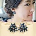 2015 мода кристалл серьги 3 цветок красно-сине-черный зеленый brincos pendientes серьги для женщин E2234