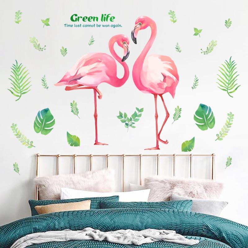 . US  10 42 30  OFF Pink Romantic Flamingo Wall Stickers Home Decor Living  Room Green Life Wall Art DIY Modern Wall Decals Living Room Bedroom in Wall