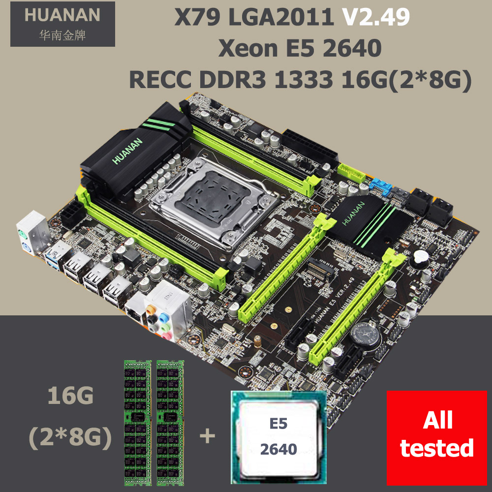 HUANAN ZHI X79 motherboard with CPU discount motherboard with M.2 slot Intel Xeon E5 <font><b>2640</b></font> 2.5GHz RAM 16G(2*8G) DDR3 1600 RECC image