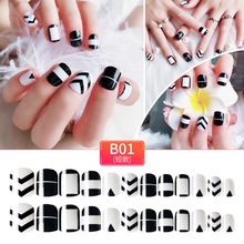 24Pcs/Set False Nails Black And White Design Nail Tips Full Cover Fake Acrylic with Double Tape