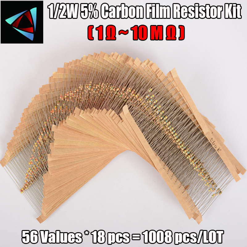 FREE SHIPPING 1008Pcs 56 Values 1/2W Carbon Film Resistor 1-10M ohm Electronic Component Set resistance value that you need