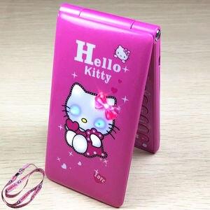 Image 1 - Hallo Kitty Flip Mit Dual SIM Karte Cartoon Atem Licht Kamera Voiceking Frauen Mädchen MP3 Nette 2,4 Zoll Telefon H  mobile D10