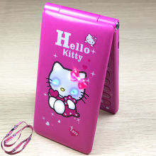 hello Kitty  Flip With Dual SIM Card Cartoon Breath Light Camera Voiceking Women Girls MP3 Cute 2.4  Inch Phone H mobile  D10