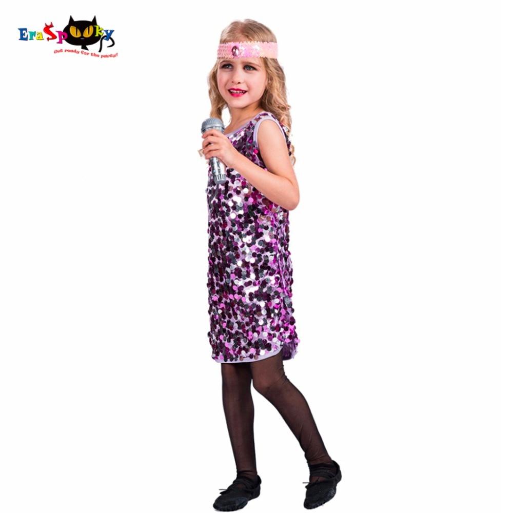 Diva Disco Halloween Costumes Enfants Paillettes Sans Manches Robe De Danse  Violet Fantaisie Robes Cosplay Costumes D\u0027halloween Pour Les Filles dans