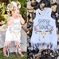 Branco novo Bebê Crianças Meninas Do Bebê Vestido de Festa Franja Pendão Branco Mini Vestido Vestido de Verão Sem Mangas Roupas de Uma Só peça UK 2016