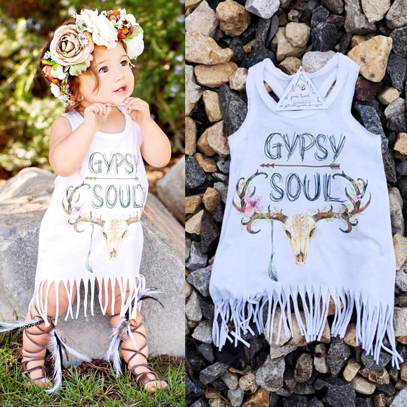 New White Baby Kids Baby Girls font b Dress b font Party Fringe Tassel White Mini