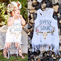 Nuevo Blanco Del Bebé Niños Niñas Bebés Vestido de Partido Borla de La Franja Blanca Mini Vestido Vestido de Tirantes Sin Mangas Trajes de Una pieza de REINO UNIDO 2016