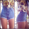 2016 Women shorts Hot New Fashion Casual solid Low Regular sexy girl Denim shorts shorts jeans feminino