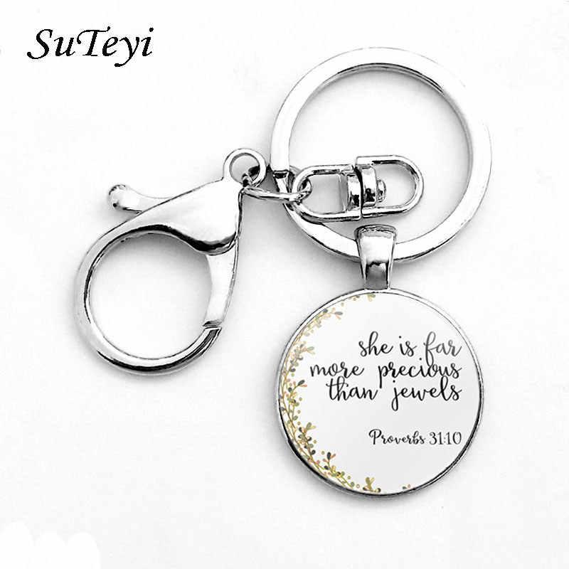 Suteyi clássico salmo citação chaveiro bíblia versos jóias moda cúpula de vidro flor carta jesus cristo deus com os eua chaveiro
