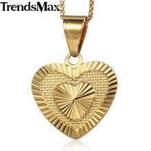 Trendsmax Women's Heart Pendant Necklace Gold Thin Chain Necklace Wedding Jewelry Gift for Girlfriend Wife 45cm 50cm KGP199(Hong Kong,China)