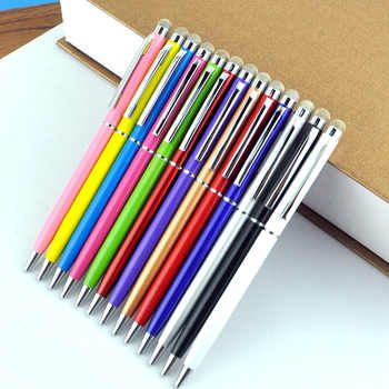 100Pcs/lot 11 Color Black Gold White Blue Roller Metal Ballpoint Pen 0.7mm 2in1 Fiber Point Stylus Gift Can Custom Your Logo - DISCOUNT ITEM  29% OFF All Category