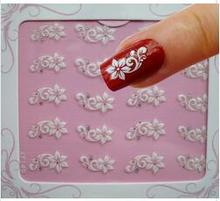 1 pacote de moda 3d flor branca xf149 etiqueta do prego flor decalques diy flor arte decoração unha, adesivo auto