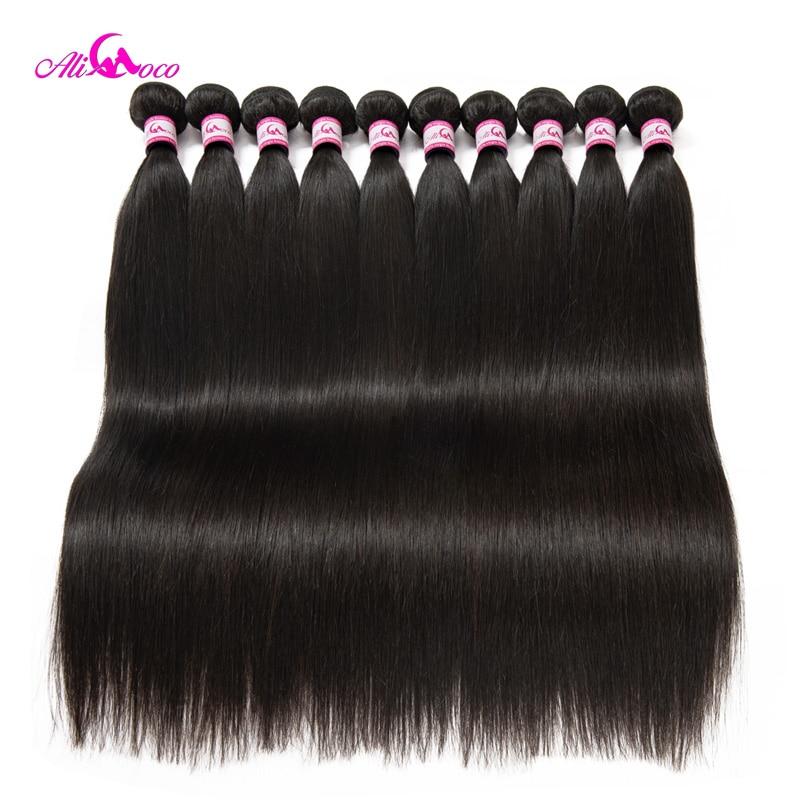 Ali Coco Brazilian Straight Hair 10 Bundles 8-30 Inch 100% Human Hair Weave Bundles Remy Hair Customize Logo