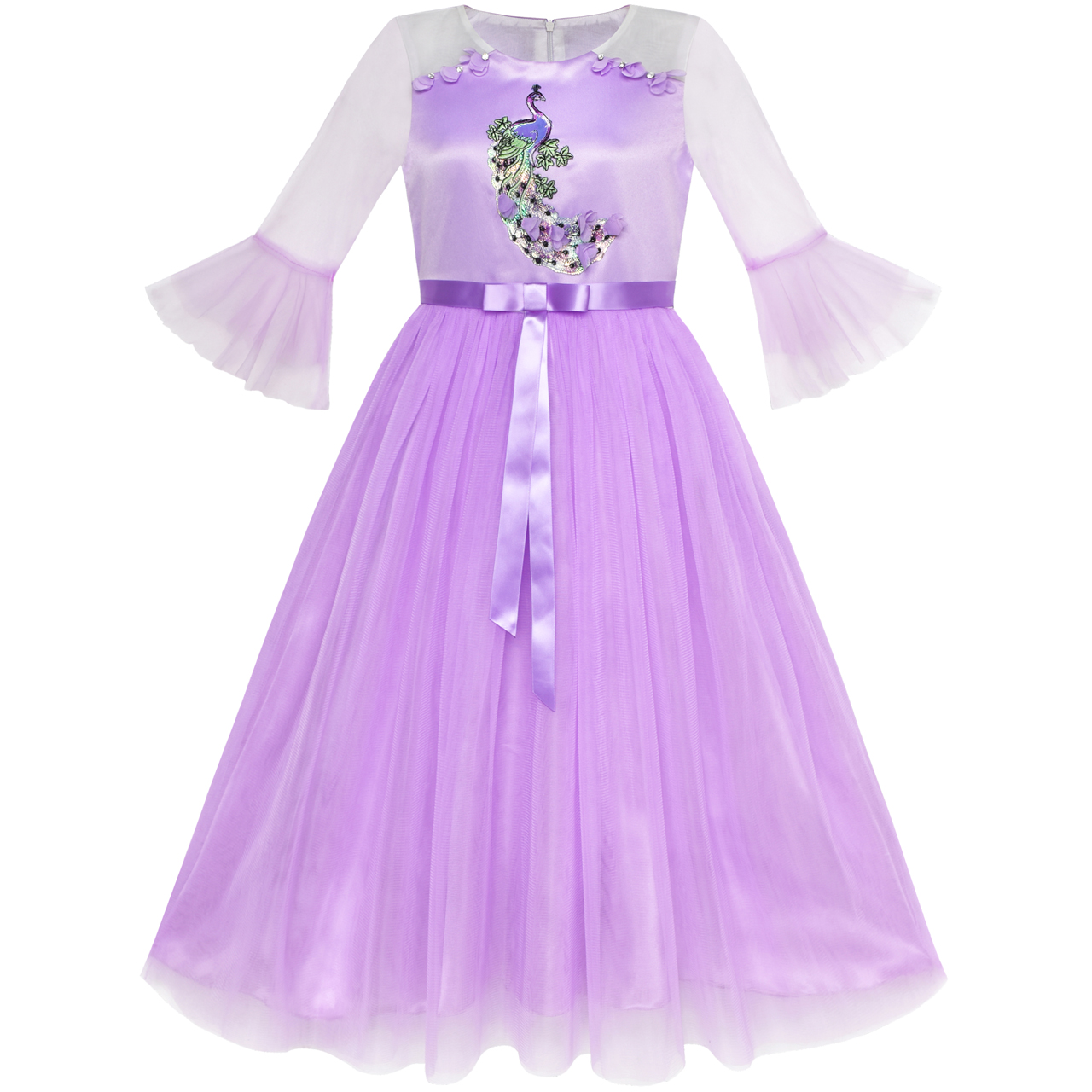 Sunny Fashion Flower Girl Dress Purple Peacock Illusion Shoulder Bell Sleeve 2018 Summer Princess Wedding Party Size 6-12 цена
