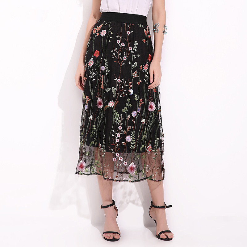 Plus Size Casual Fashion Office Party Women Ladies Mesh Embroidered Waterweed Floral Mid-Calf Straight Embroidery Skirt 50