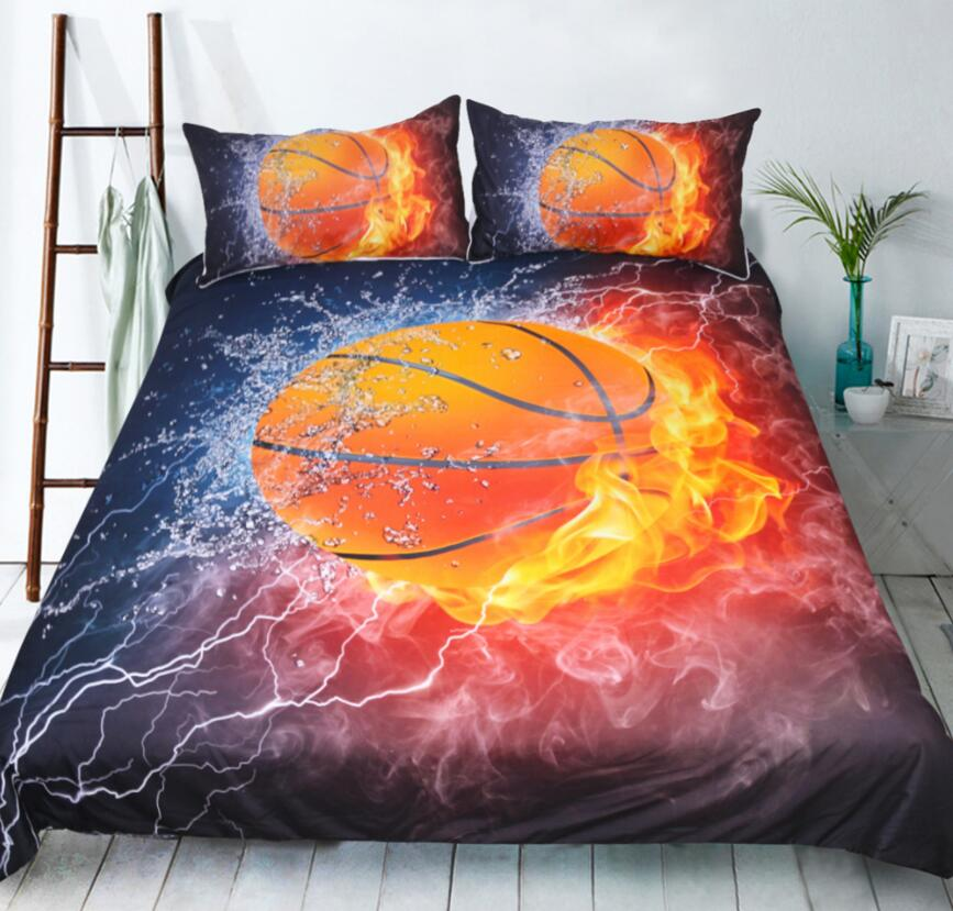American Basketball Duvet Cover Fire Water 3D Printed Bedding Set