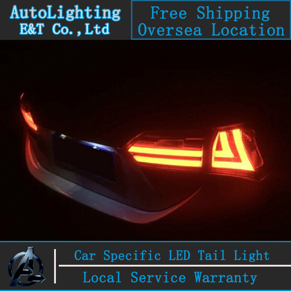 Car Styling for Toyota Corolla 2014 led tail lights new Altis tail lamp corolla drl rear trunk lamp cover signal+brake+reverse woobest abs rear wing rear trunk rear spoiler for toyota corolla altis 2014 2017 new design top quality