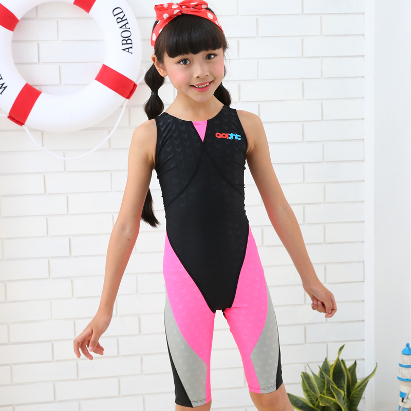 cceb39e6927 Girl One Piece Professional Knee Length Competition Swimwear Kids Surfing  Summer Beach Bathing SwimSuit Diving Sport