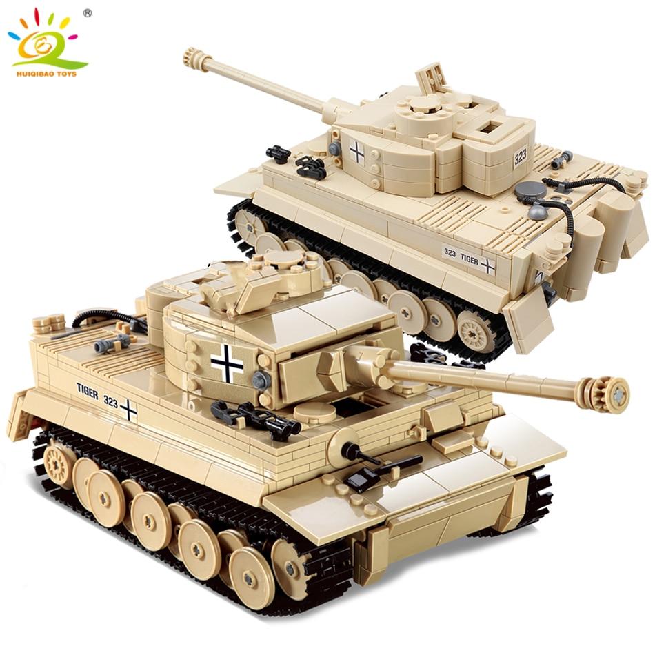 HUIQIBAO 995pcs Military German King Tiger Tank Building Blocks legoingly Army WW2 soldier Figure weapon brick children Boy Toys german tanks ww2 king tiger
