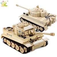 HUIQIBAO 995pcs Military German King Tiger Tank Building Blocks legoingly Army WW2 soldier Figure weapon brick children Boy Toys