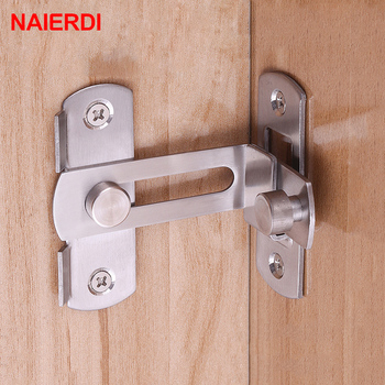 NAIERDI 90 Degree Hasp Latches Stainless Steel Sliding Door Chain Locks Security Tools Hardware For Window Cabinet Hotel Home lhx cmms232 hardware steel sliding interior door lock glass window professional security locks cerradura