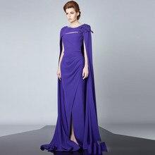 Arabischen Muslimischen Langes Abendkleid Mit Violet Schal Elegant Chiffon Dubai Kaftan Formale Abendkleid Robe de soiree