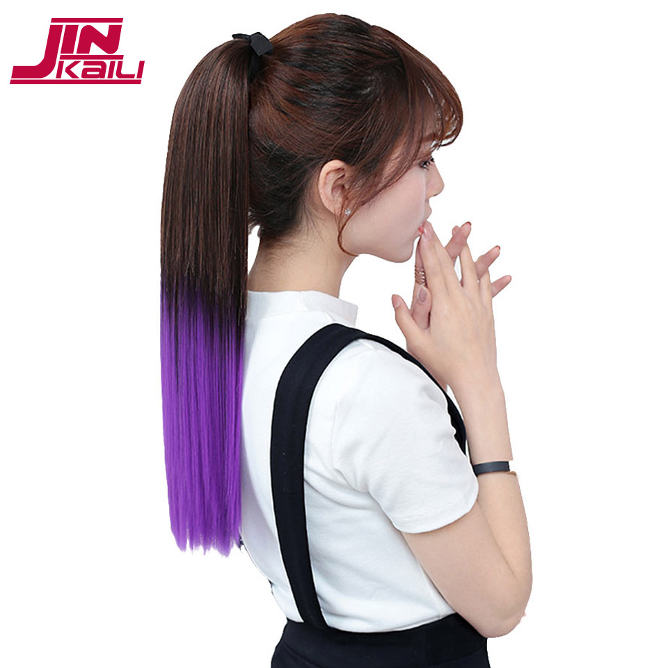 JINKAILI WIG Ombre Two Tone Synthetic Long Straight Ponytail Hair Extensions Natural Black to Blue and Black to Purple