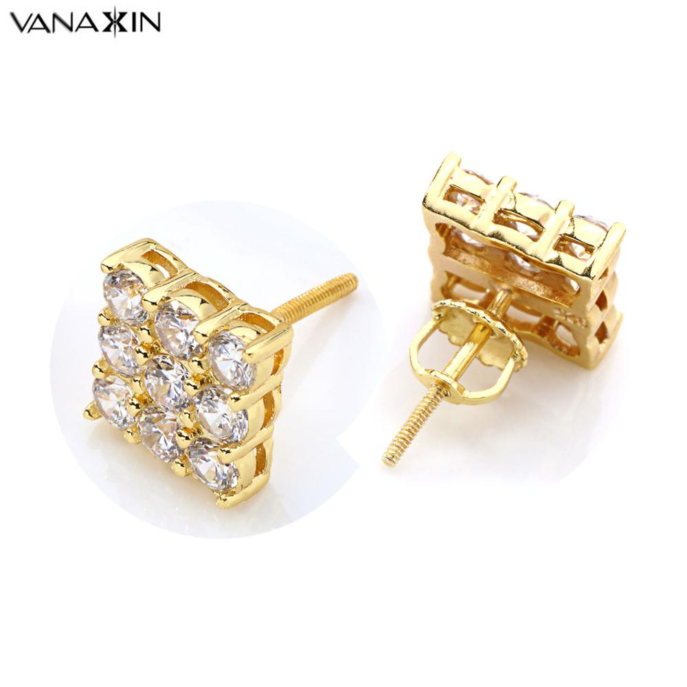 VANAXIN बड़ी झुमके महिलाओं के लिए फैशन स्टर्लिंग सिल्वर इयरिंग ज्वेलरी गोल्ड कलर CZ क्रिस्टल हिप हॉप शाइनी स्टड ईयररिंग बॉक्स गिफ्ट