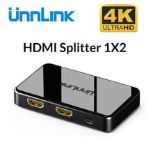 Unnlink HDMI dağıtıcı 1x2 UHD HD mi 1.4 UHD4K @ 30Hz 1080P @ 60Hz 3D 1 2 Out için akıllı LED TV mi BOX3 XBOX 360 PS3 PS4 projektör