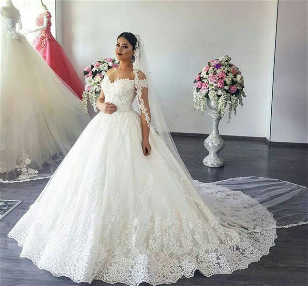 Wonderful Lace Princess Wedding Dresses Boat Neck Off The Shoulder White Tulle Long Bridal Dress Cheap 2019 Custom Made
