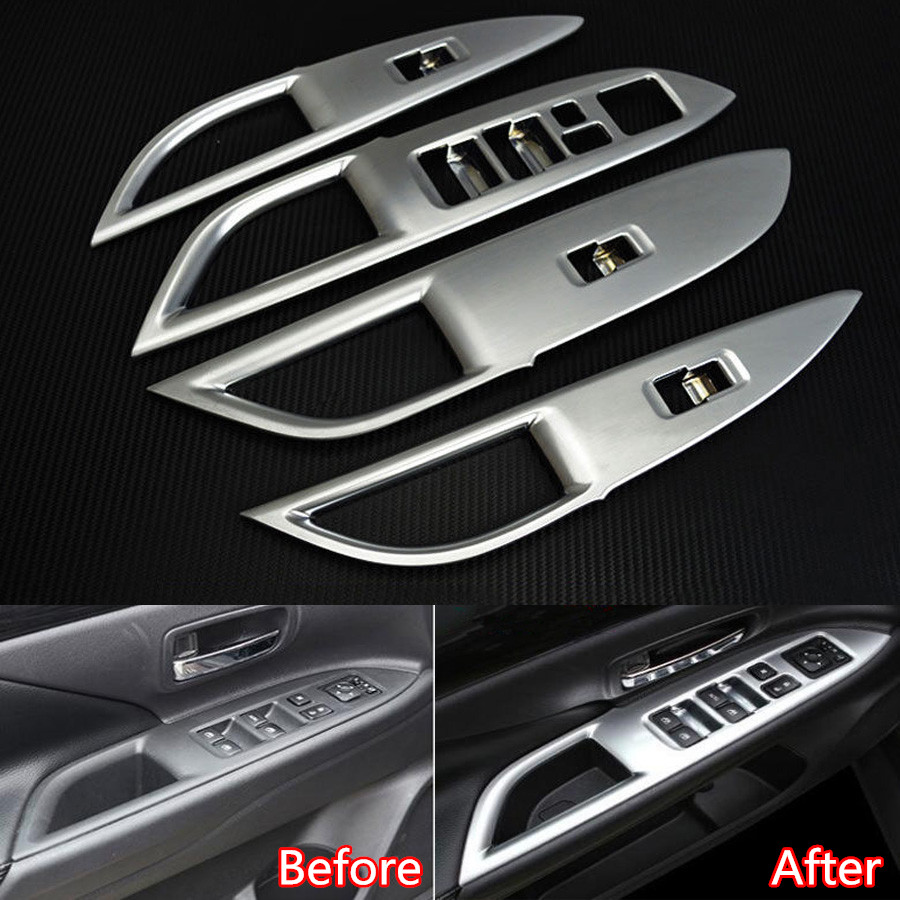 4pcs set auto interior door armrest window lift button switch frame cover trim car styling