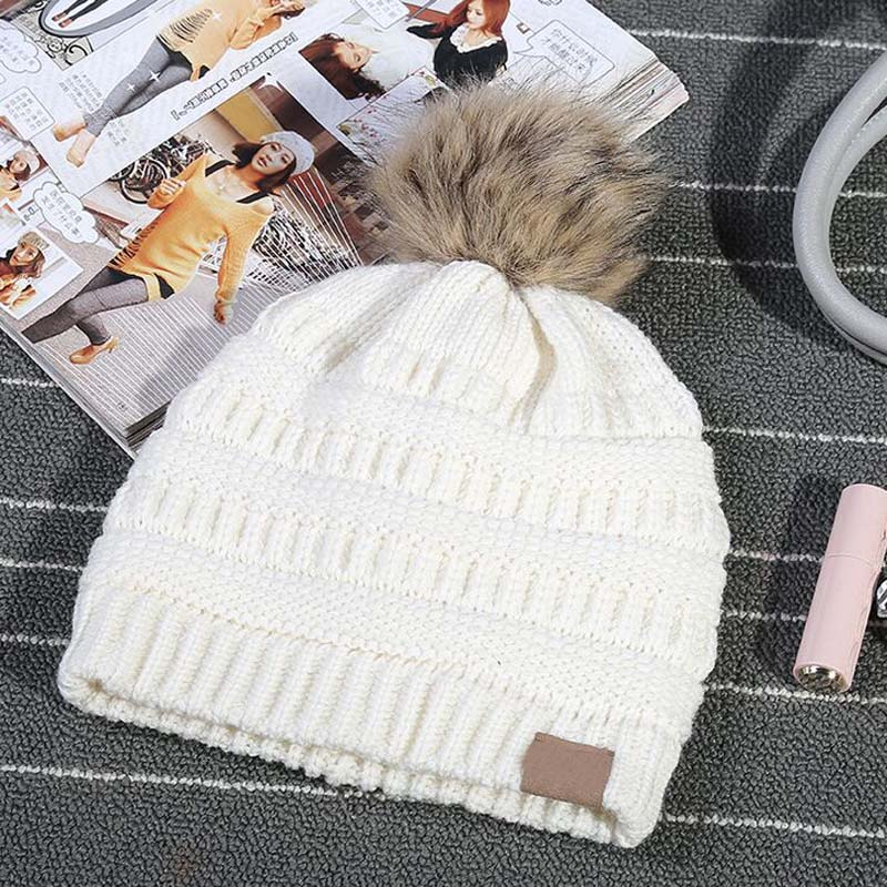 New 2018 Women's Fashion Knitted Parent-child Cap Autumn Winter Men Warm Hat   Skullies   Brand Heavy Hair Ball Twist   Beanies