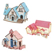 3D Puzzles Wooden House Kids Educational Learning Toys Adult Art Crafts DIY Color Jigsaw Brain Teaser Games