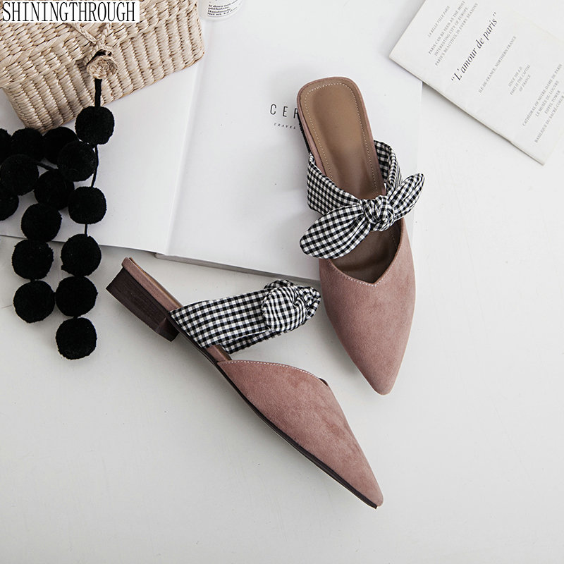 Woman Slippers buckle Flat Shoes Low Heels Autumn Mules For Women Slides Female Pointed Toe Sweet Girls SlipperWoman Slippers buckle Flat Shoes Low Heels Autumn Mules For Women Slides Female Pointed Toe Sweet Girls Slipper