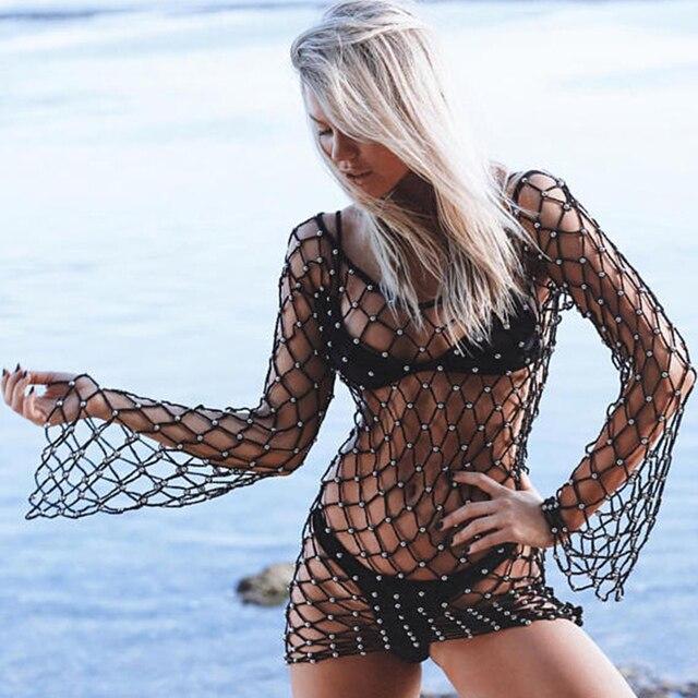 sexy mesh bikini cover up long sleeve clothing beach dress crochet handmade cover up nets beachwear hollow out outside wear