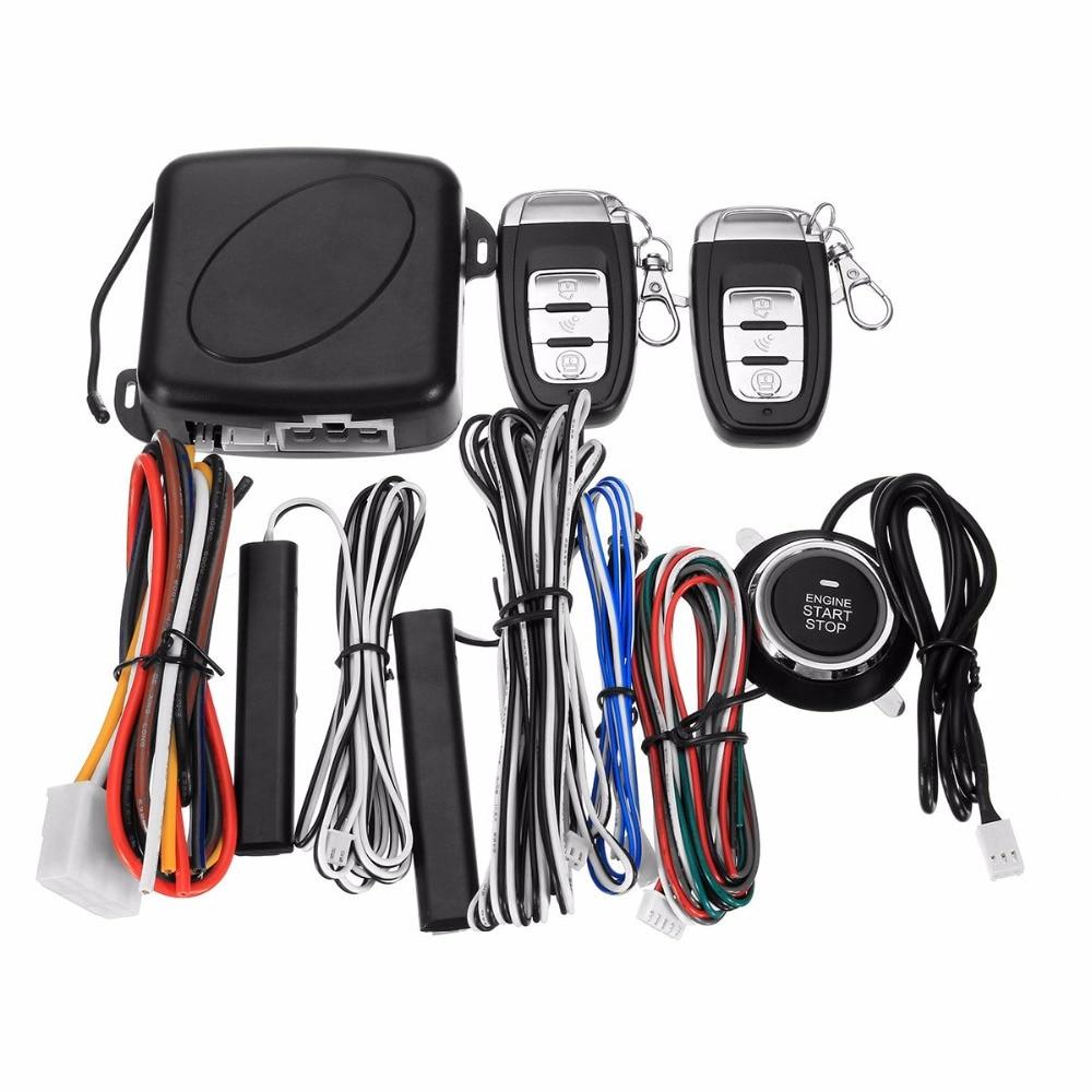 9PCS Car SUV Keyless Entry Engine Start Alarm System Push Button Remote Starter Stop Auto One-button Start Sound and Light