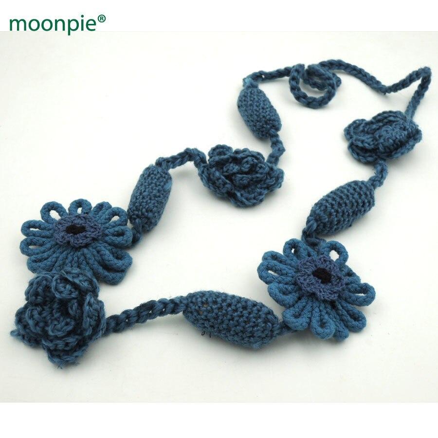 ⑤Liquidación azul crochet Flor de enfermería collar de invierno ...
