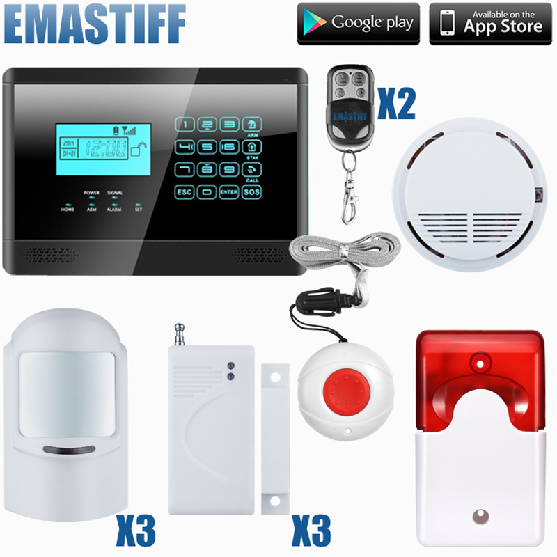 Wireless&wired GSM Home Security Fire Alarm System+ 3 Pet-Friendly PIR Sensors+ 3 door Sensors wireless smoke fire detector for wireless for touch keypad panel wifi gsm home security burglar voice alarm system