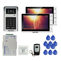 Free Shipping 9 inch LCD Screen Video Door Phone Video Intercom Kit + Outdoor RFID Code Keypad Number Doorbell Camera 2 Monitors