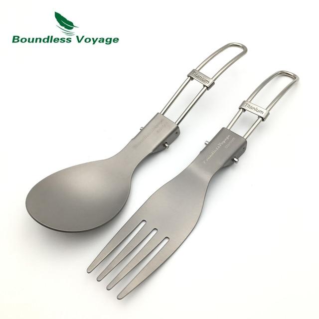 Boundless Voyage Titanium Chopsticks Fork and Folding Spoon Ultralight Outdoor Portable Cutlery Set