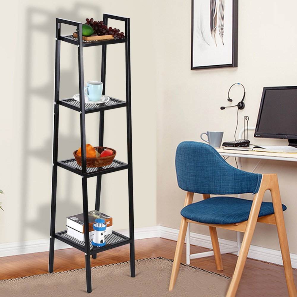 Home Forceful 4 Tier Ladder Shelf Unit Bookshelf Bookcase Book Storage Display Rack Stand 35*35*145cm New Black White Optional Lovely Luster