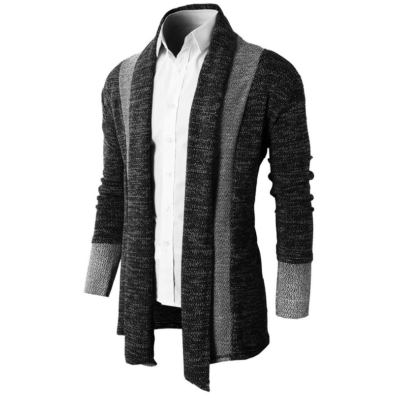 Long cardigans men autumn new mens casual slim fit sweater for Long sweaters and shirts